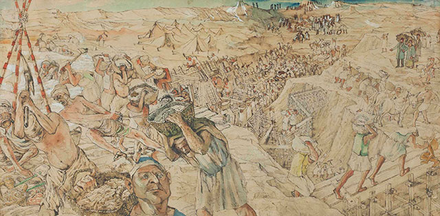 Construction of the Suez Canal painting