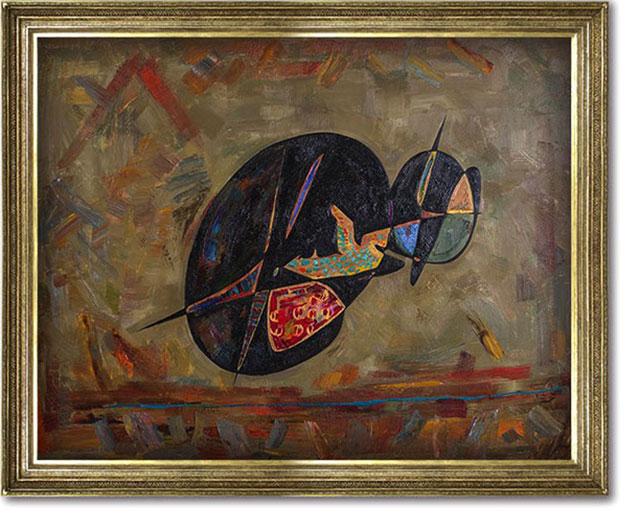 Gheorghe Virtosu, Egyptian cat art oil painting,