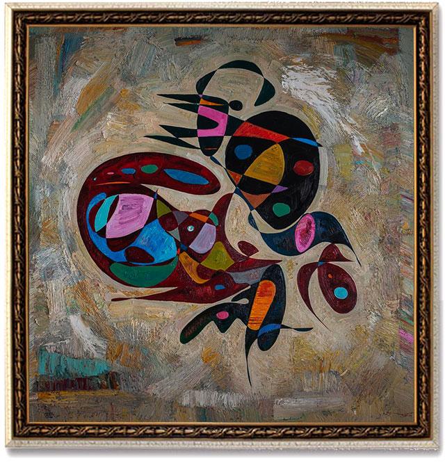 Gheorghe Virtosu Flying man oil painting